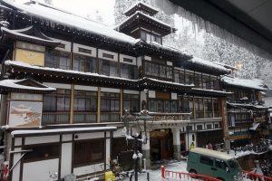 銀山温泉のカフェ「クリエ」からの眺め